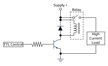 Acroname Common transistor relay driver with flyback diode diagram