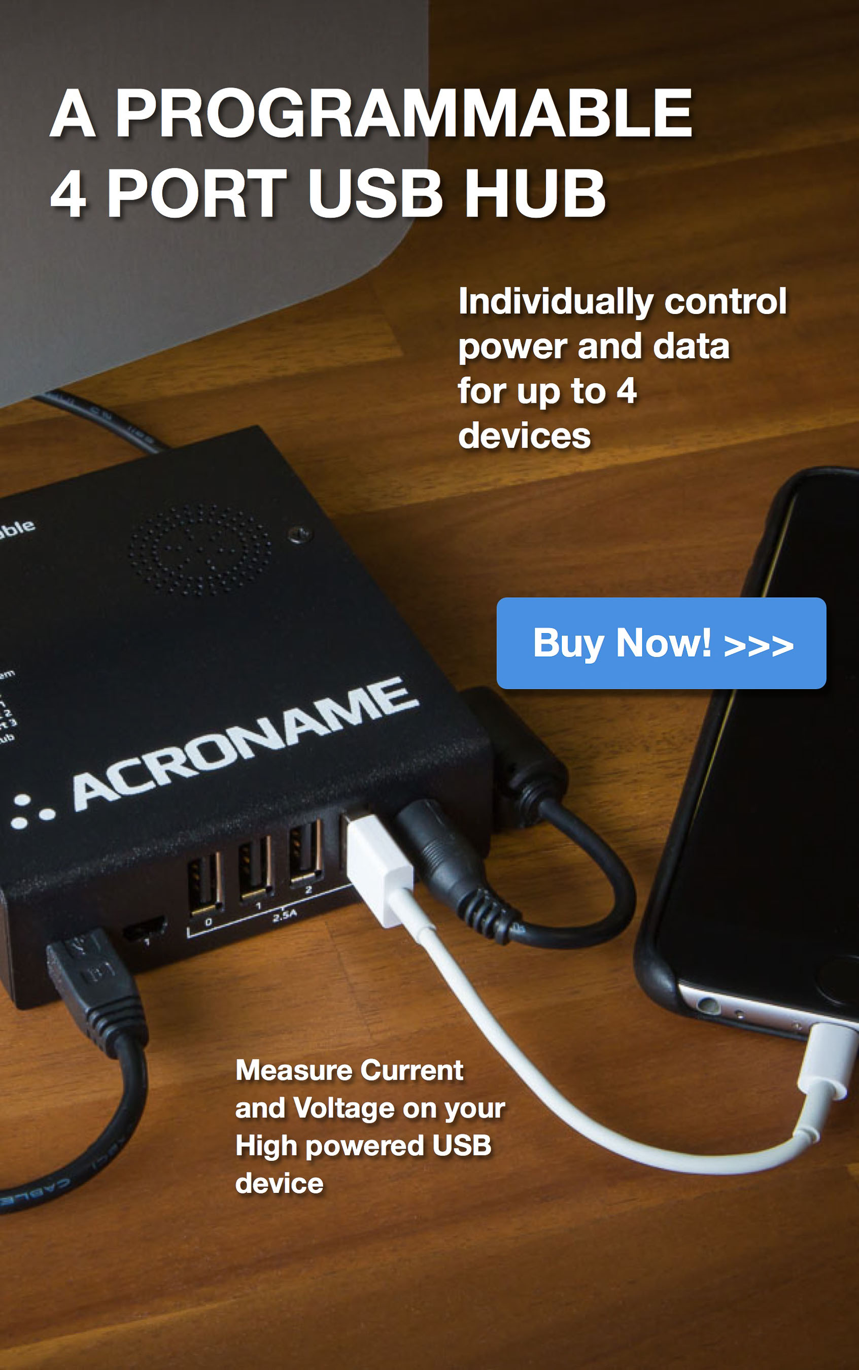 Acroname Programmable Industrial 4 port USB Hub