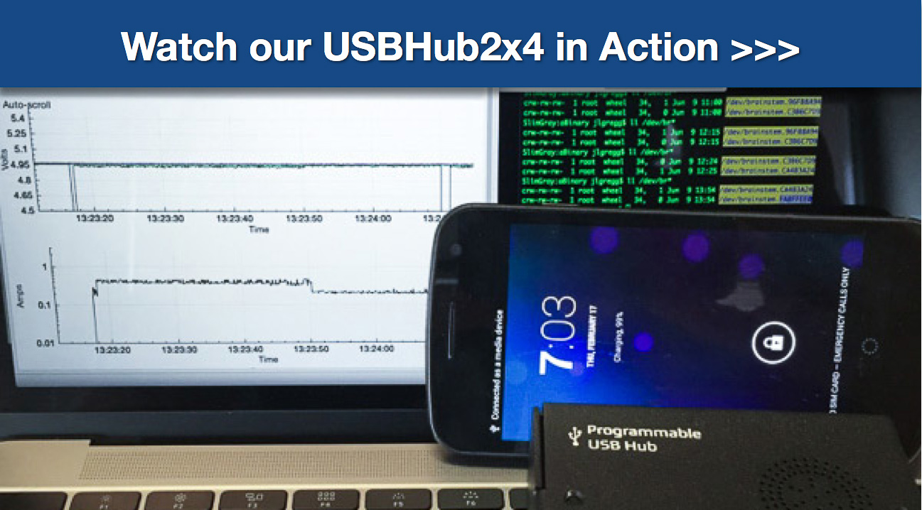 Acroname watch our USB Hub 2x4 in action